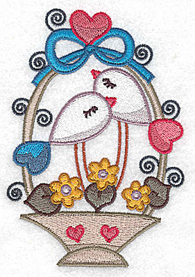 Embroidery Design: Birds in a basket with top bow and heart large 3.41w X 4.93h