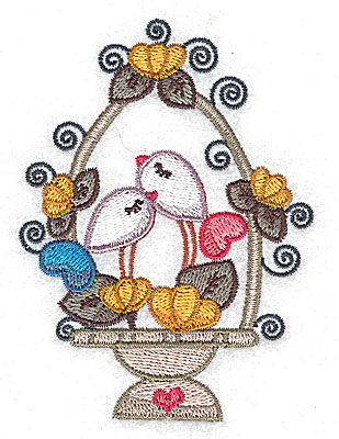 Embroidery Design: Birds in a basket with flowers small 2.86w X 3.89h