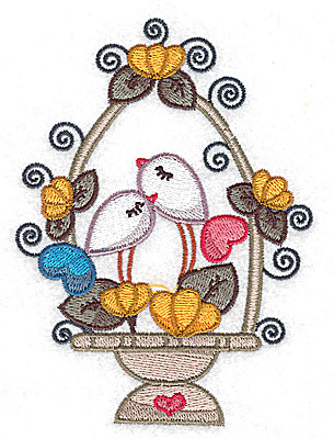 Embroidery Design: Birds in a basket with flowers large  3.65w X 4.98h