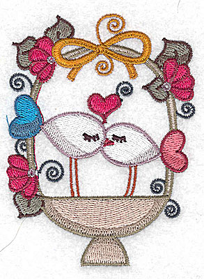 Embroidery Design: Birds in a basket kissing small 2.93w X 3.89h