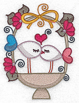 Embroidery Design: Birds in a basket kissing large 3.74w X 4.98h