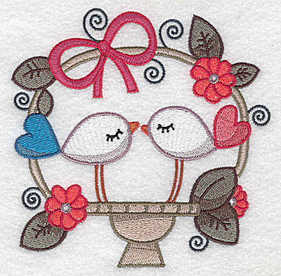 Embroidery Design: Birds in a basket large 4.94w X 4.95h