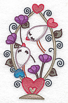 Embroidery Design: Birds in heart shaped basket large 3.18w X 4.95h