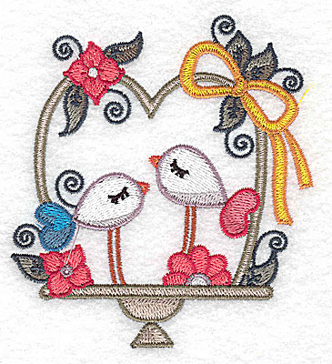 Embroidery Design: Birds in a basket and bow small 3.50w X 3.86h