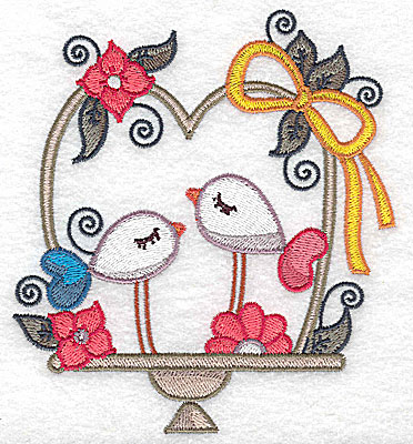Embroidery Design: Birds in a basket and bow large  4.51w X 4.98h