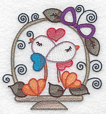 Embroidery Design: Birds in basket with heart small 3.71w X 3.87h