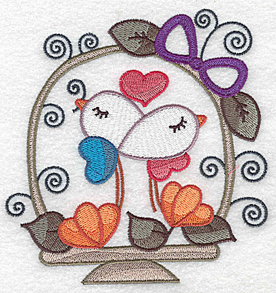 Embroidery Design: Birds in basket with heart large  4.74w X 4.96h