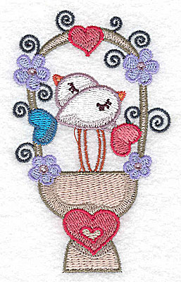 Embroidery Design: Birds on heart pedestal small 2.44w X 3.85h