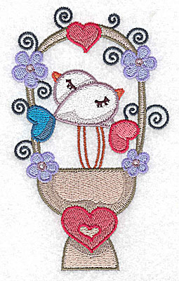 Embroidery Design: Birds on heart pedestal large 3.01w X 4.96h