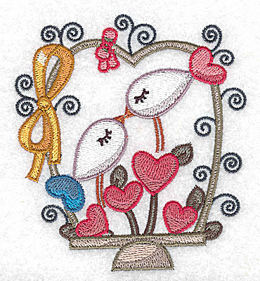 Embroidery Design: Birds hearts and bow small 3.47w X 3.85h