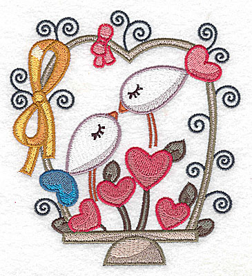 Embroidery Design: Birds hearts and bow large 4.48w X 4.96h