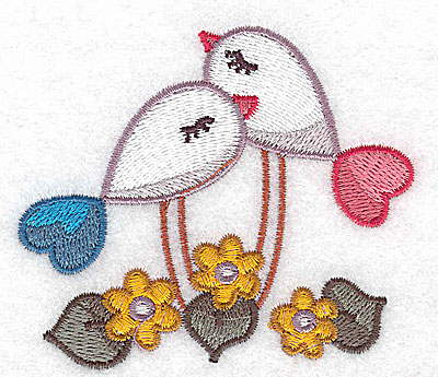 Embroidery Design: Birds and flowers 3.24w X 2.84h