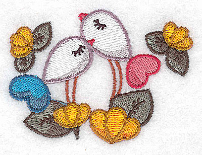 Embroidery Design: Birds and flowers 3.11w X 2.27h