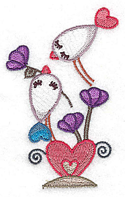 Embroidery Design: Birds on heart 2.42w X 3.82h