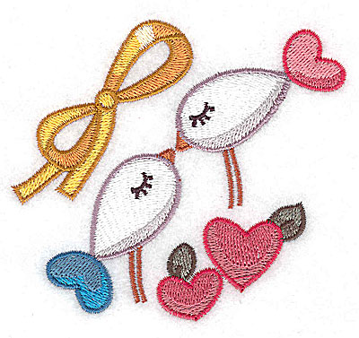 Embroidery Design: Birds and bow 3.88w X 3.48h