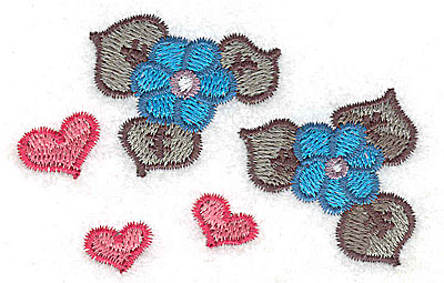 Embroidery Design: Flowers and hearts 3.07w X 2.03h