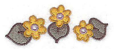 Embroidery Design: Floral trio 2.80w X 1.13h