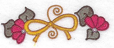 Embroidery Design: Two flowers and a bow 3.84w X 1.37h
