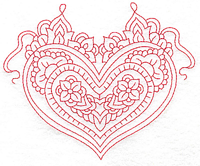 Embroidery Design: Heart 1 Large 6.22w X 5.05h