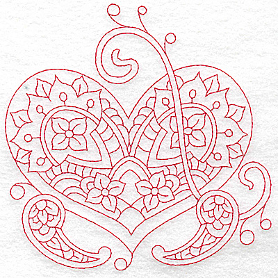 Embroidery Design: Heart 2 Large 6.18w X 6.20h