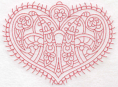 Embroidery Design: Heart 3 Large 6.26w X 4.63h