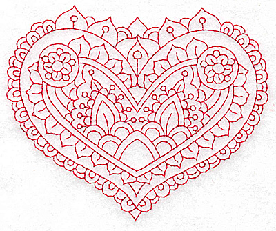 Embroidery Design: Heart 5 Medium 4.83w X 4.01h