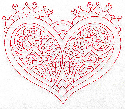 Embroidery Design: Heart 6 Large 6.23w X 5.32h