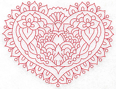 Embroidery Design: Heart 7 Large 6.23w X 4.73h