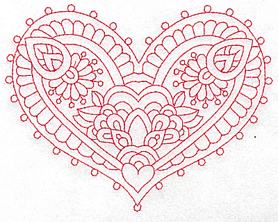 Embroidery Design: Heart 10 Large 6.26w X 4.83h