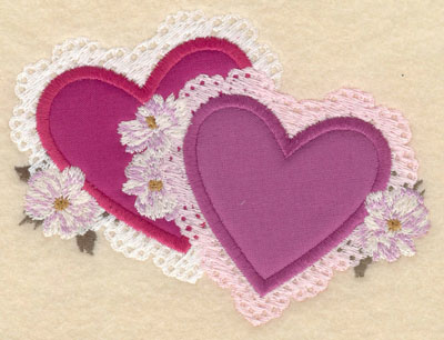 Embroidery Design: Small two heart appliques5.02w X 3.86h