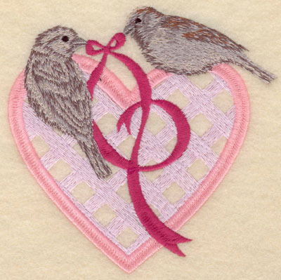 Embroidery Design: Small birds with heart and ribbon5.00w X 4.95h
