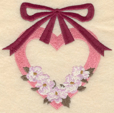 Embroidery Design: Small heart with hanging ribbon5.01w X 4.90h