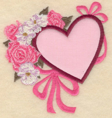 Embroidery Design: Small heart applique with flowers4.68w X 5.01h
