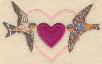 Embroidery Design: Small birds with heart applique5.00w X 3.01h