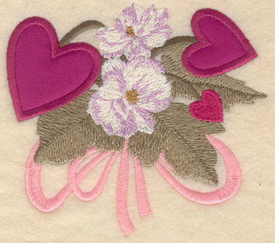 Embroidery Design: Small double heart applique with flowers5.01w X 4.55h