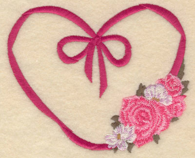 Embroidery Design: Small ribbon heart with flowers5.01w X 4.17h