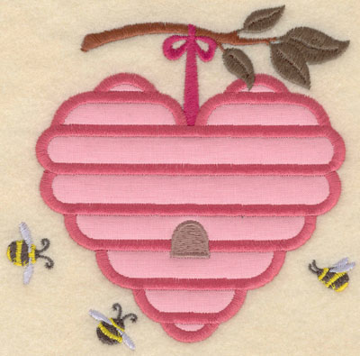 Embroidery Design: Small heart shaped beehive applique5.00w X 5.01h