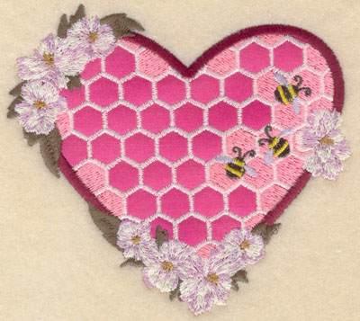 Embroidery Design: Small heart shaped honeycomb applique5.01w X 4.62h