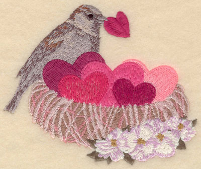 Embroidery Design: Small bird in nest5.00w X 4.07h