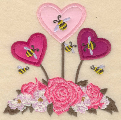 Embroidery Design: Small floral heart appliques with bees4.97w X 5.01h