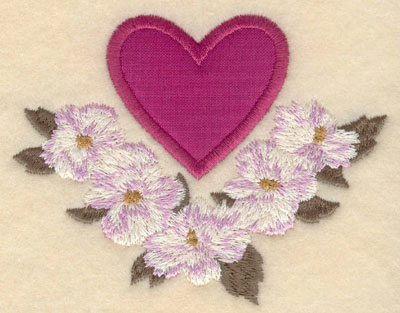 Embroidery Design: Heart applique with flowers beneath4.09w X 3.22h