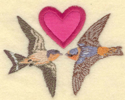 Embroidery Design: Heart applique with birds4.07w X 3.11h