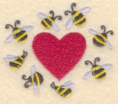 Embroidery Design: Heart with bees3.06w X 2.69h