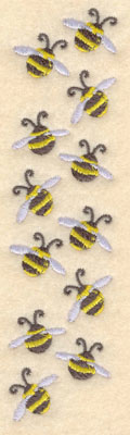 Embroidery Design: Row of bees1.50w X 5.95h