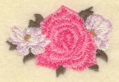 Embroidery Design: Rose with floral sides2.98w X 2.01h