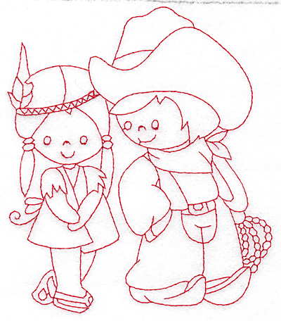 Embroidery Design: Cowboy and Indian girl large 5.02w X 5.81h
