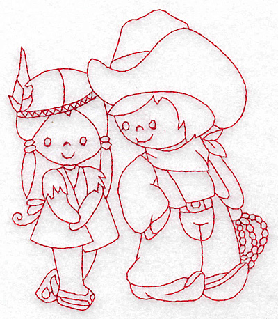Embroidery Design: Cowboy and Indian girl medium 4.19w X 4.48h