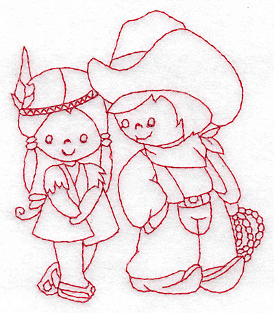 Embroidery Design: Cowboy and Indian girl small 3.35w X 3.87h