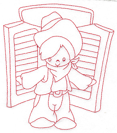 Embroidery Design: Cowboy at saloon door large 5.08w X 5.77h