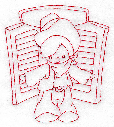 Embroidery Design: Cowboy at saloon door small  3.39w X 3.85h